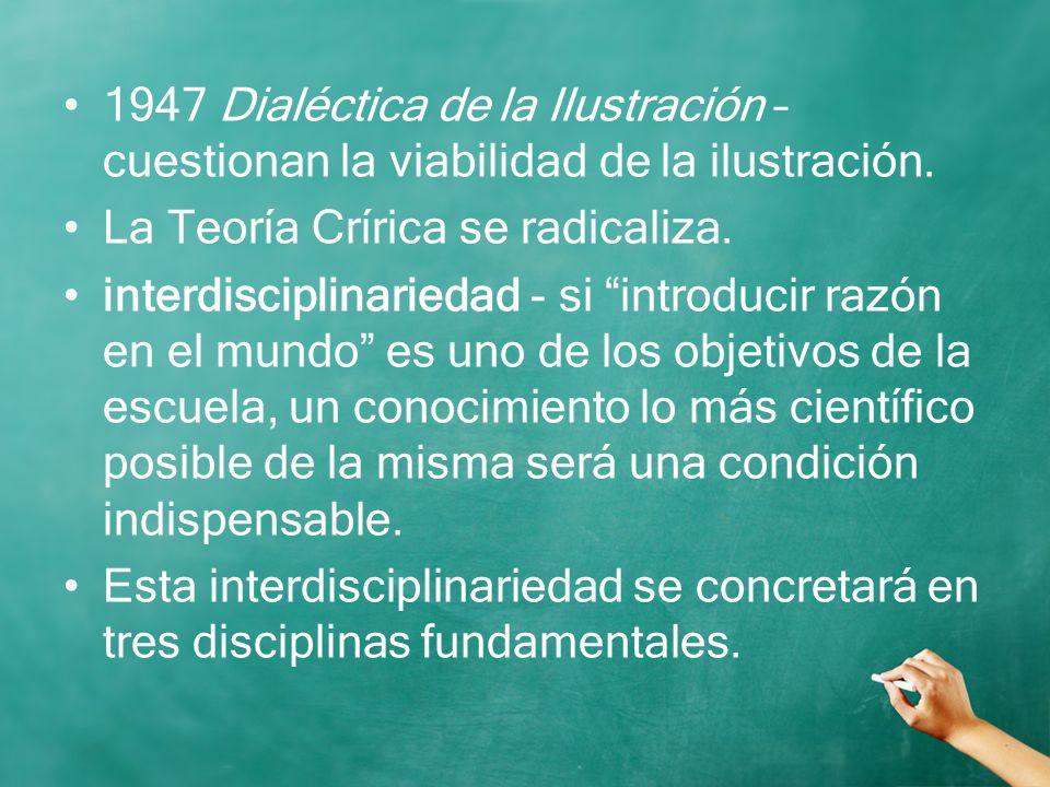 1947 Dialéctica de la Ilustración – cuestionan la viabilidad de la ilustración.