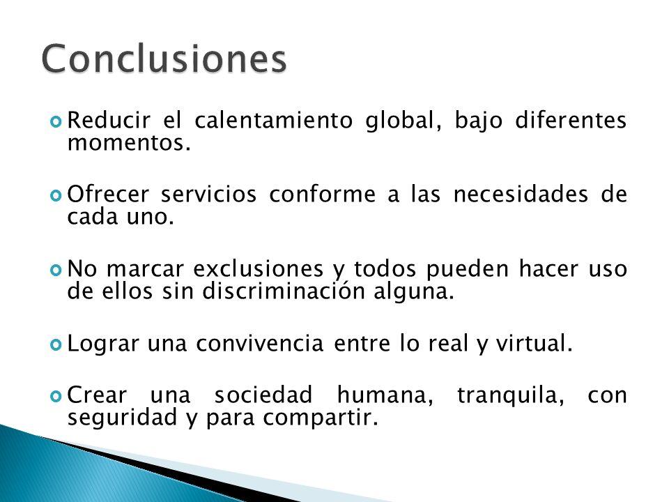 Conclusiones Reducir el calentamiento global, bajo diferentes momentos. Ofrecer servicios conforme a las necesidades de cada uno.