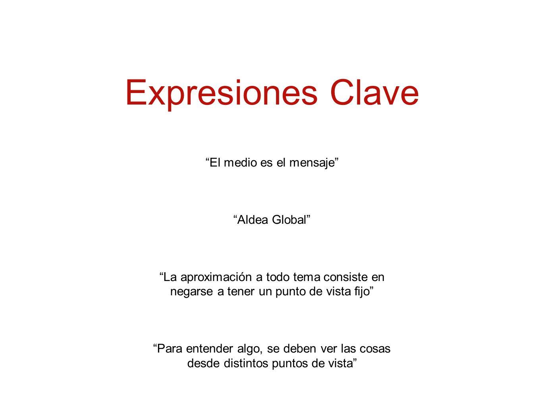 Expresiones Clave El medio es el mensaje Aldea Global