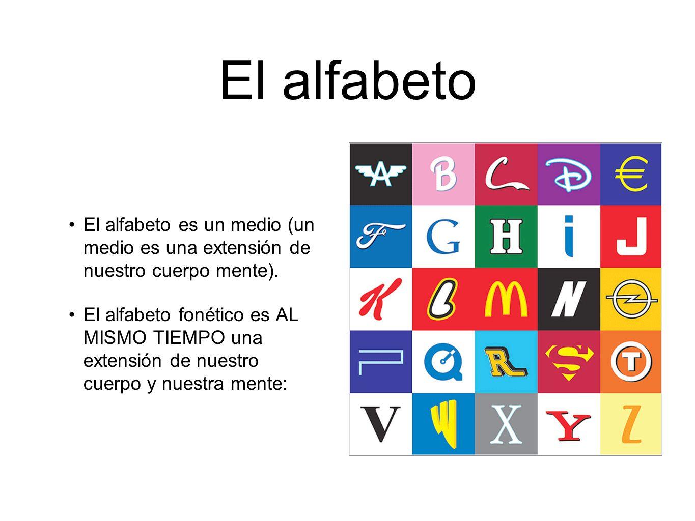 El alfabeto El alfabeto es un medio (un medio es una extensión de nuestro cuerpo mente).
