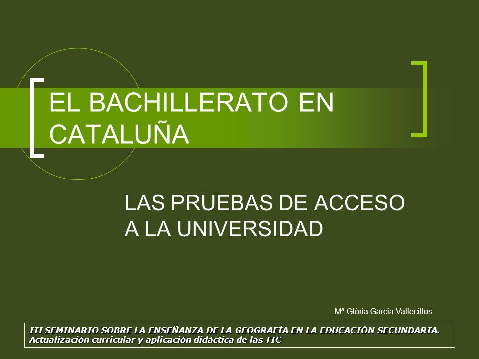 EL BACHILLERATO EN CATALUÑA