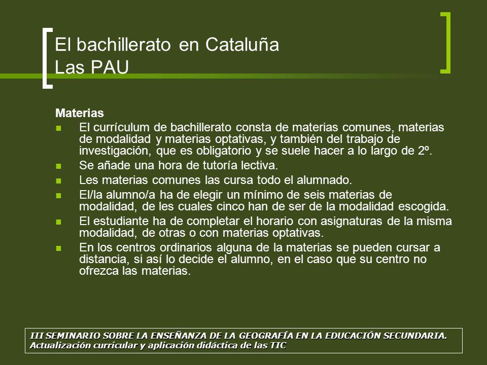 El bachillerato en Cataluña Las PAU