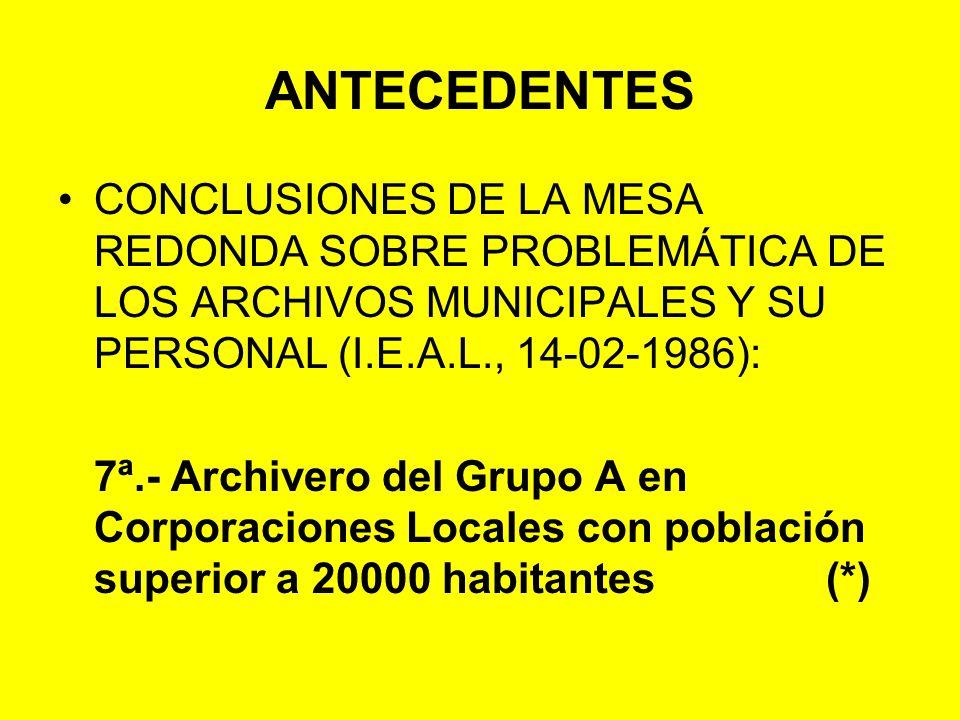 ANTECEDENTES CONCLUSIONES DE LA MESA REDONDA SOBRE PROBLEMÁTICA DE LOS ARCHIVOS MUNICIPALES Y SU PERSONAL (I.E.A.L., 14-02-1986):