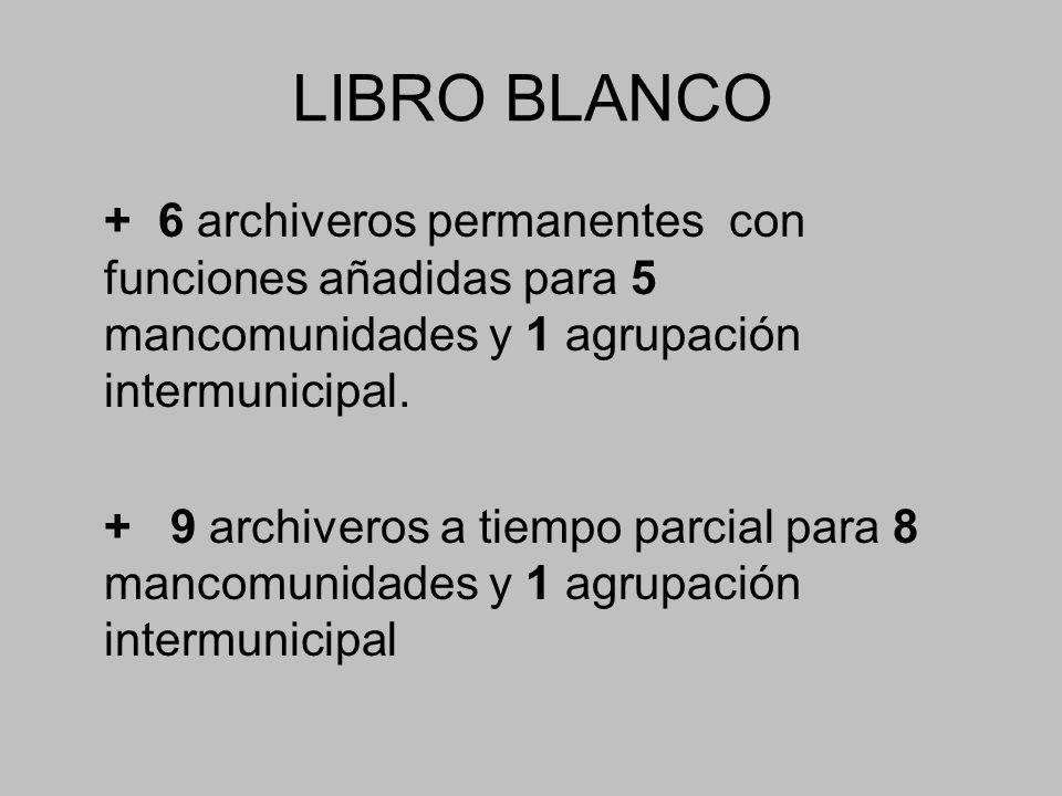 LIBRO BLANCO + 6 archiveros permanentes con funciones añadidas para 5 mancomunidades y 1 agrupación intermunicipal.