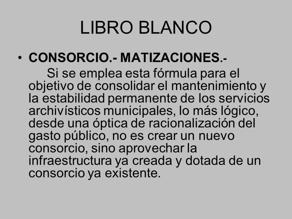 LIBRO BLANCO CONSORCIO.- MATIZACIONES.-