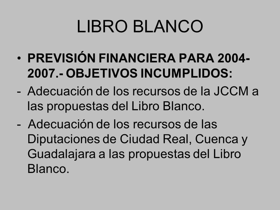 LIBRO BLANCO PREVISIÓN FINANCIERA PARA 2004-2007.- OBJETIVOS INCUMPLIDOS: - Adecuación de los recursos de la JCCM a las propuestas del Libro Blanco.