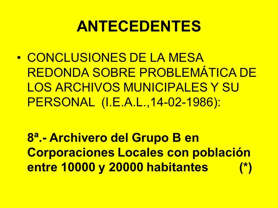ANTECEDENTES CONCLUSIONES DE LA MESA REDONDA SOBRE PROBLEMÁTICA DE LOS ARCHIVOS MUNICIPALES Y SU PERSONAL (I.E.A.L.,14-02-1986):