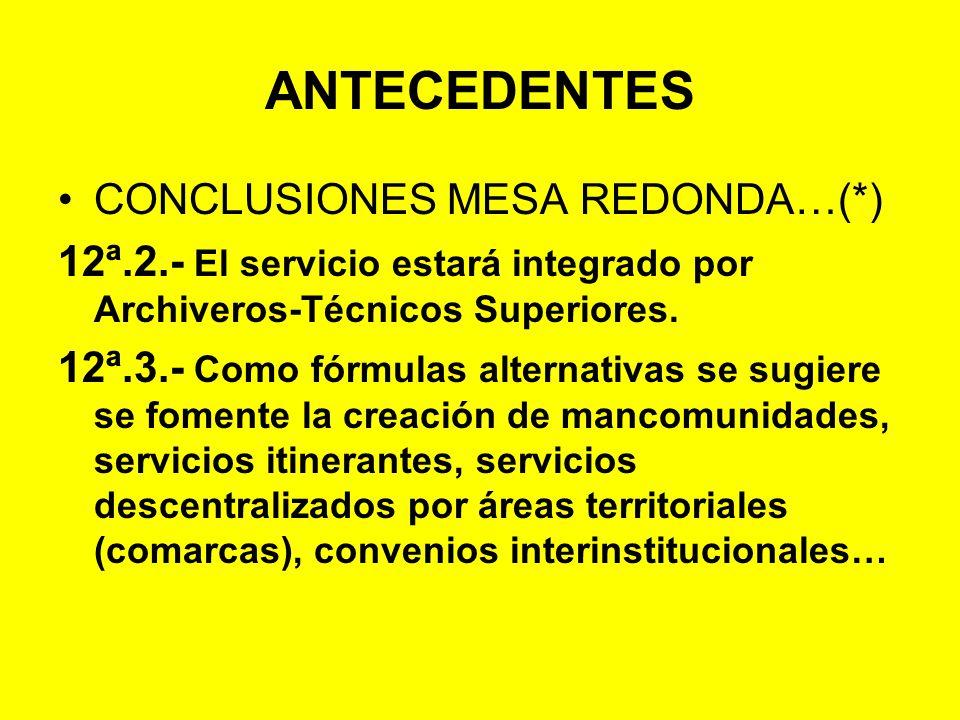 ANTECEDENTES CONCLUSIONES MESA REDONDA…(*)