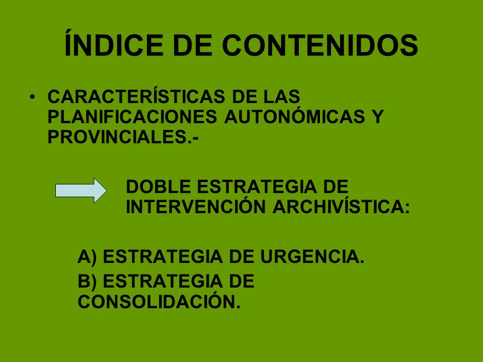 ÍNDICE DE CONTENIDOS CARACTERÍSTICAS DE LAS PLANIFICACIONES AUTONÓMICAS Y PROVINCIALES.- DOBLE ESTRATEGIA DE INTERVENCIÓN ARCHIVÍSTICA: