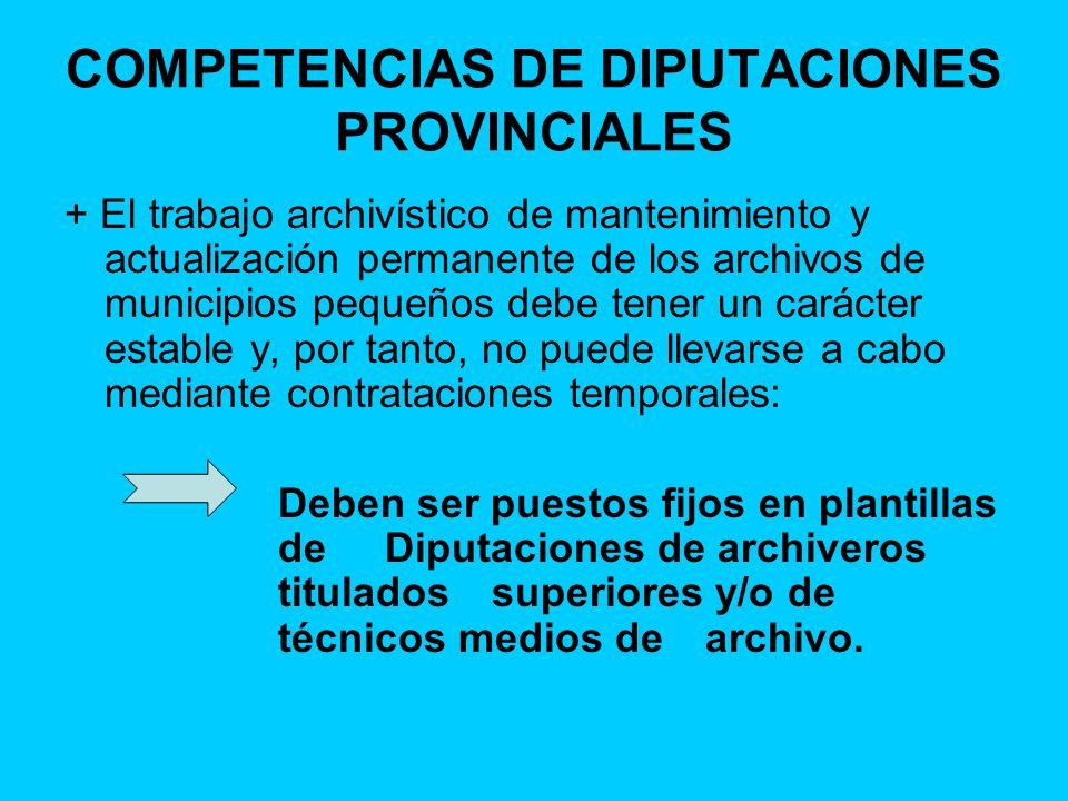 COMPETENCIAS DE DIPUTACIONES PROVINCIALES