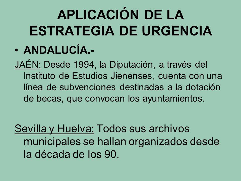 APLICACIÓN DE LA ESTRATEGIA DE URGENCIA