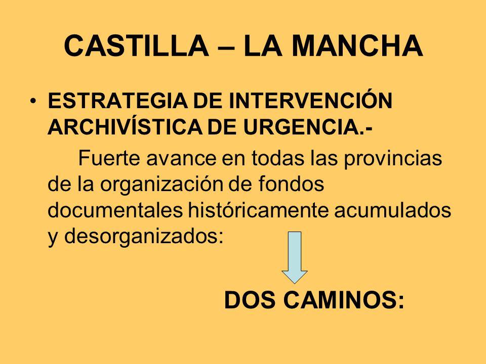 CASTILLA – LA MANCHA ESTRATEGIA DE INTERVENCIÓN ARCHIVÍSTICA DE URGENCIA.-