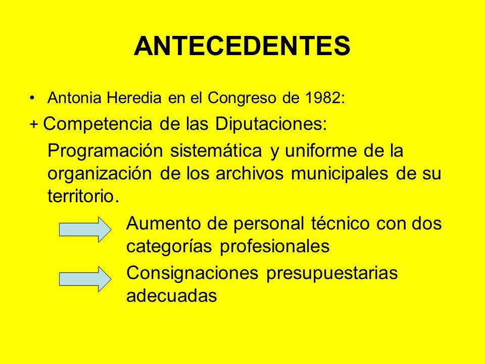 ANTECEDENTES Antonia Heredia en el Congreso de 1982: + Competencia de las Diputaciones: