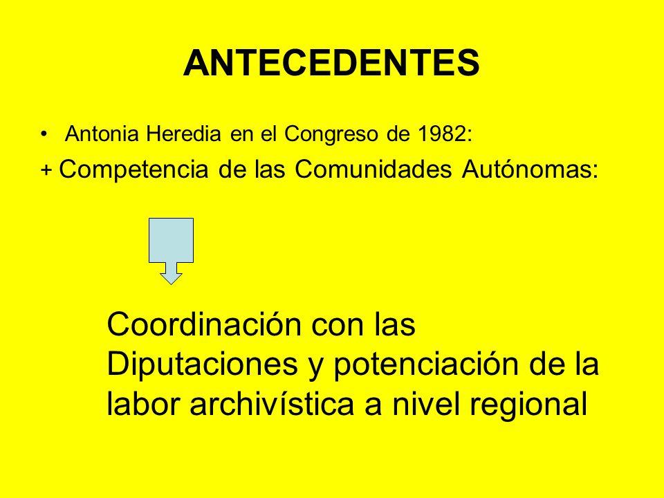 ANTECEDENTES Antonia Heredia en el Congreso de 1982: + Competencia de las Comunidades Autónomas: