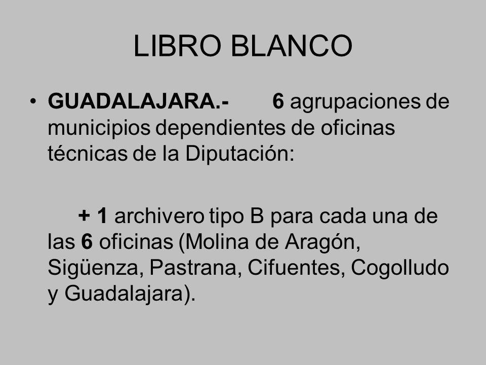LIBRO BLANCO GUADALAJARA.- 6 agrupaciones de municipios dependientes de oficinas técnicas de la Diputación: