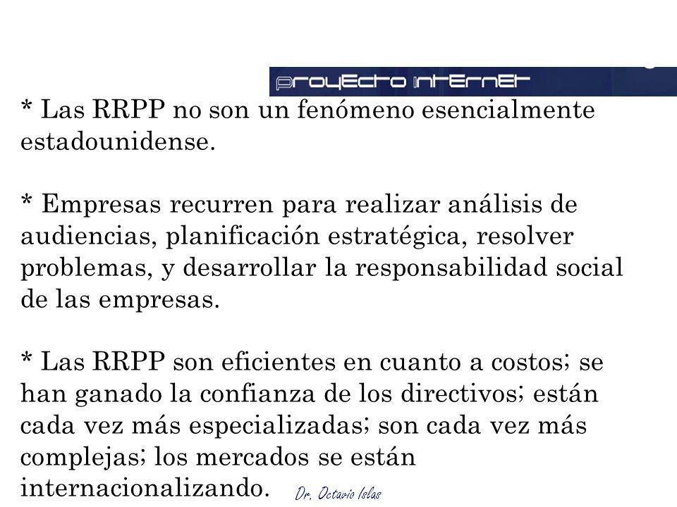 Outsourcing * Las RRPP no son un fenómeno esencialmente estadounidense.