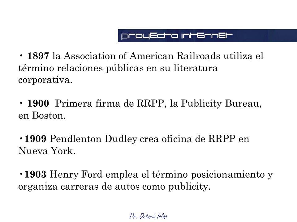 1897 la Association of American Railroads utiliza el término relaciones públicas en su literatura corporativa.