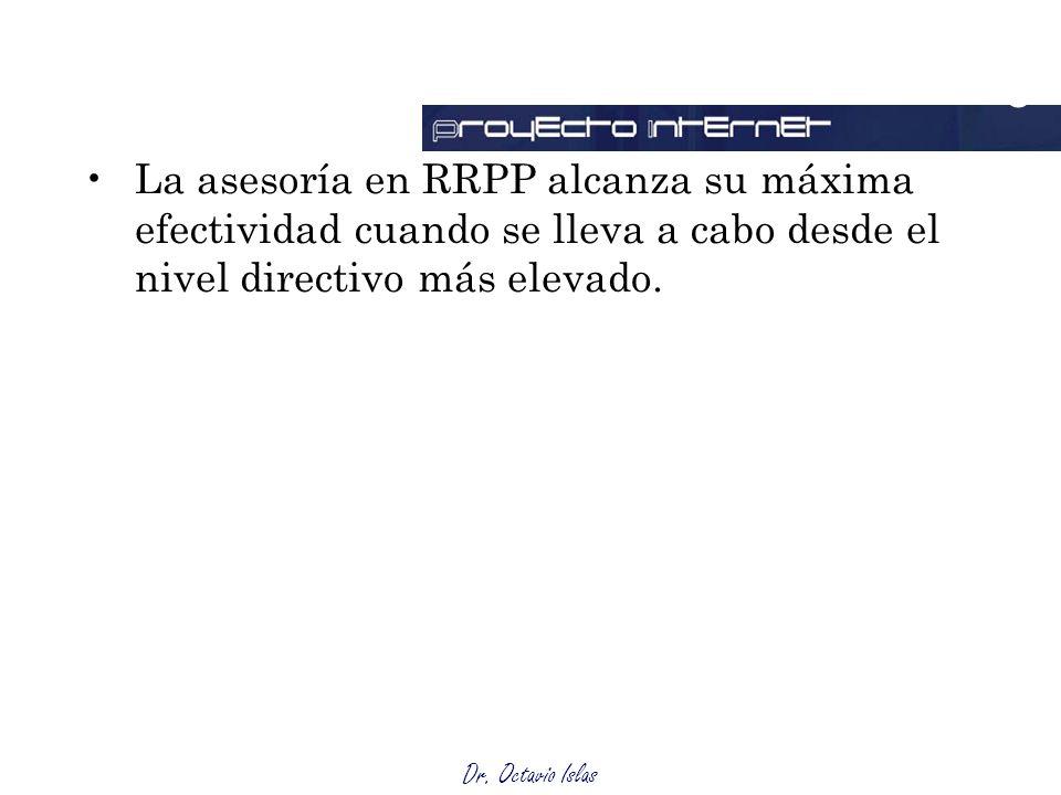Outsourcing La asesoría en RRPP alcanza su máxima efectividad cuando se lleva a cabo desde el nivel directivo más elevado.