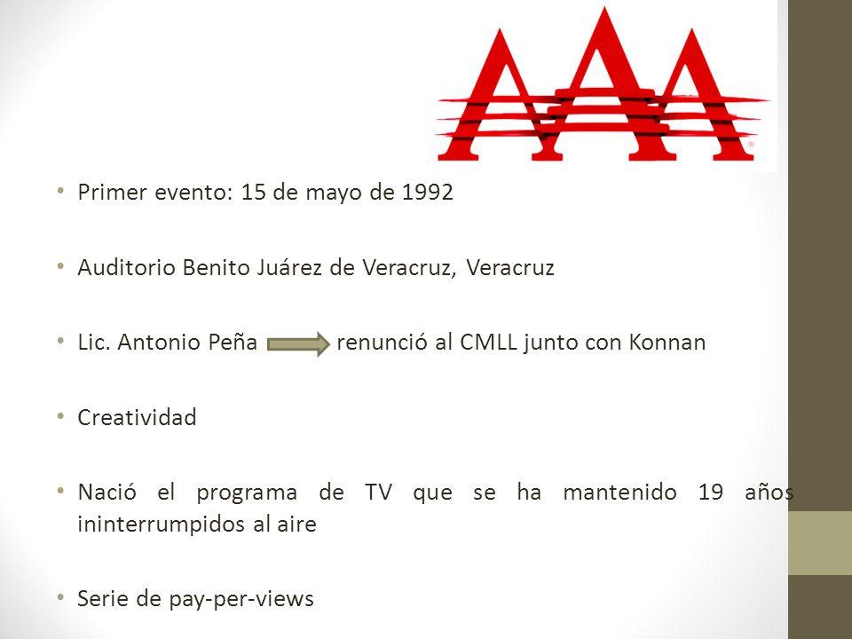 Primer evento: 15 de mayo de 1992