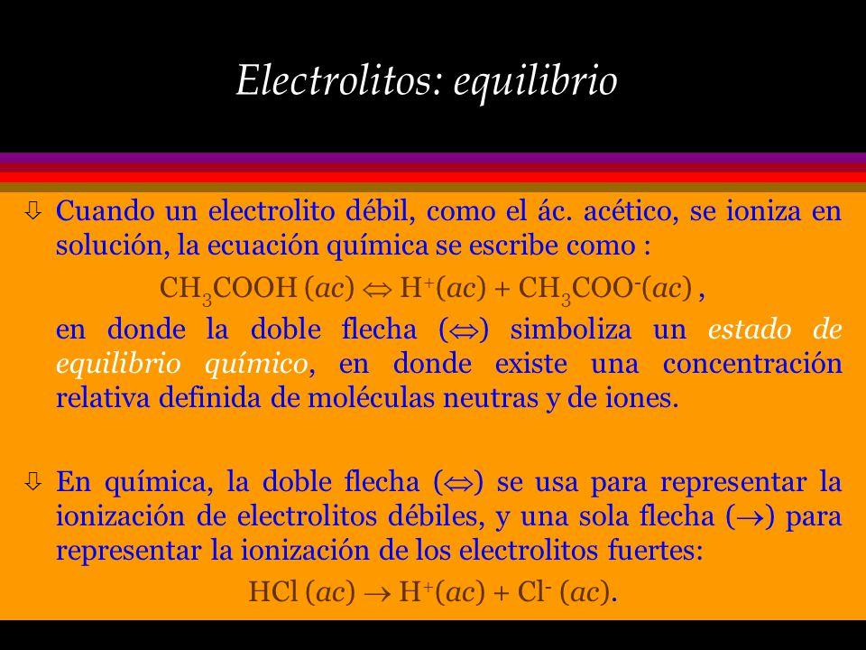 Electrolitos: equilibrio