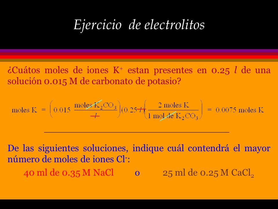 Ejercicio de electrolitos