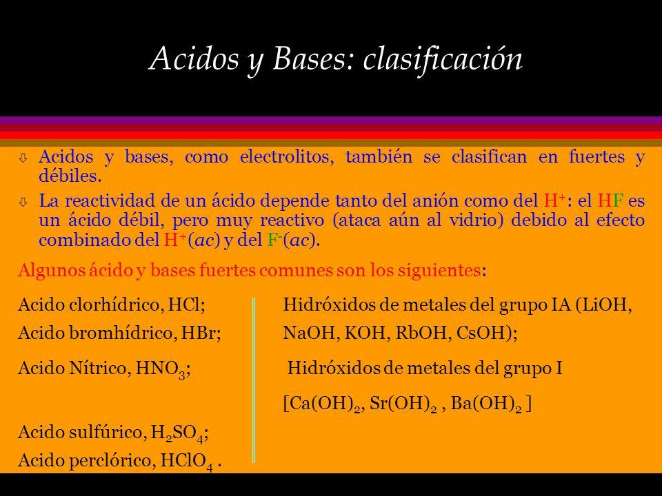 Acidos y Bases: clasificación