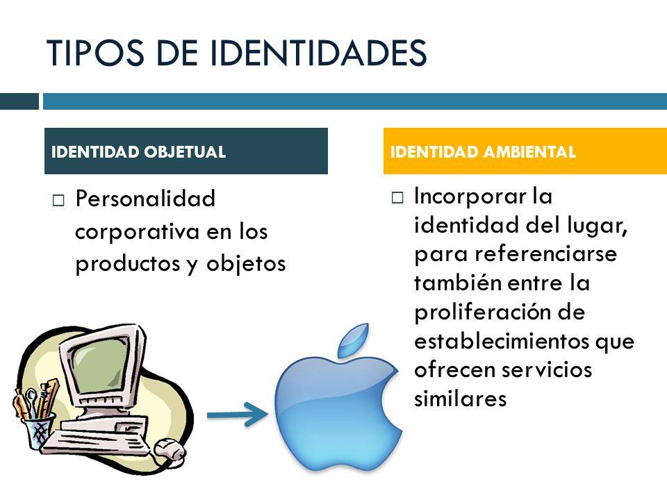 TIPOS DE IDENTIDADES IDENTIDAD OBJETUAL. IDENTIDAD AMBIENTAL. Personalidad corporativa en los productos y objetos.