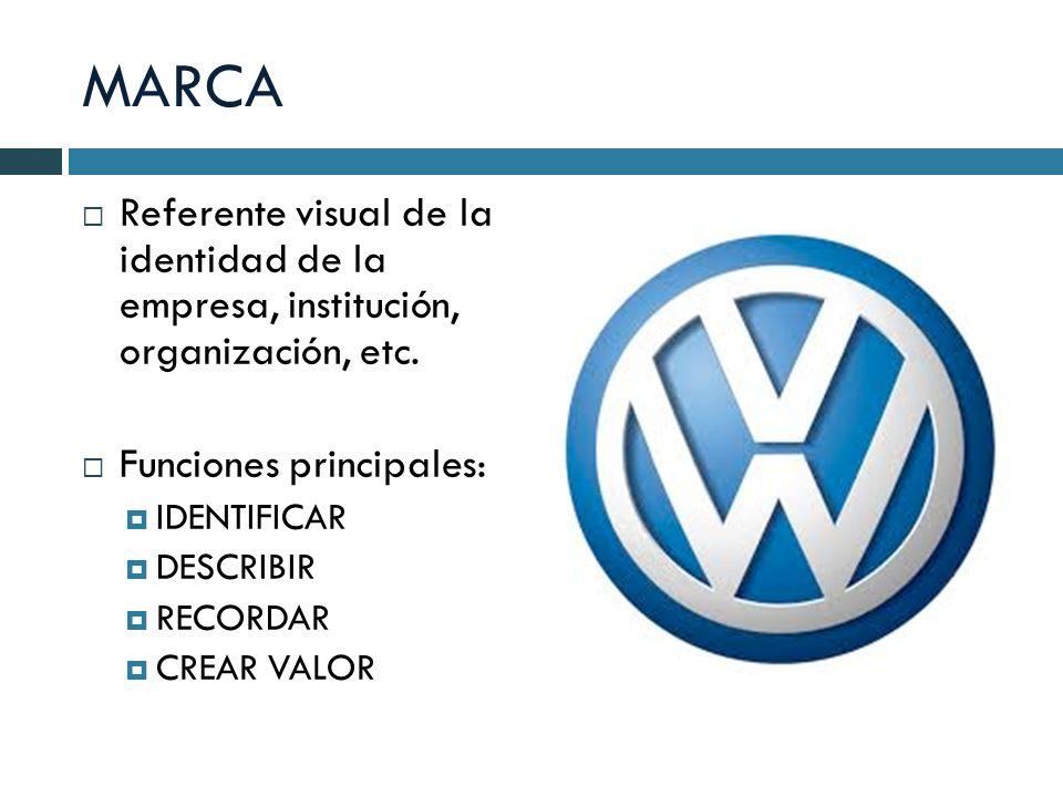MARCA Referente visual de la identidad de la empresa, institución, organización, etc. Funciones principales: