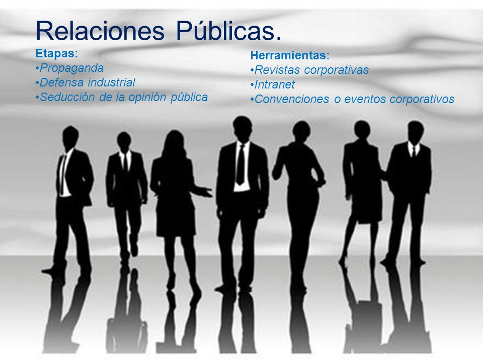 Relaciones Públicas. Etapas: Propaganda Defensa industrial