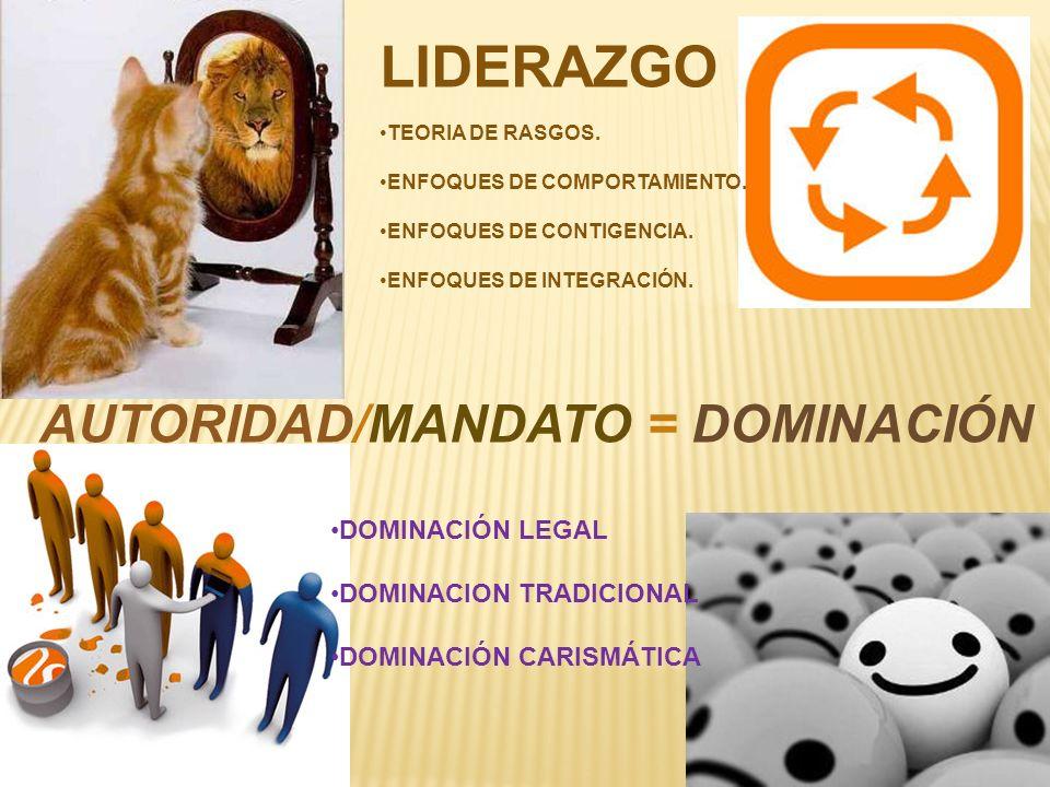 AUTORIDAD/MANDATO = DOMINACIÓN