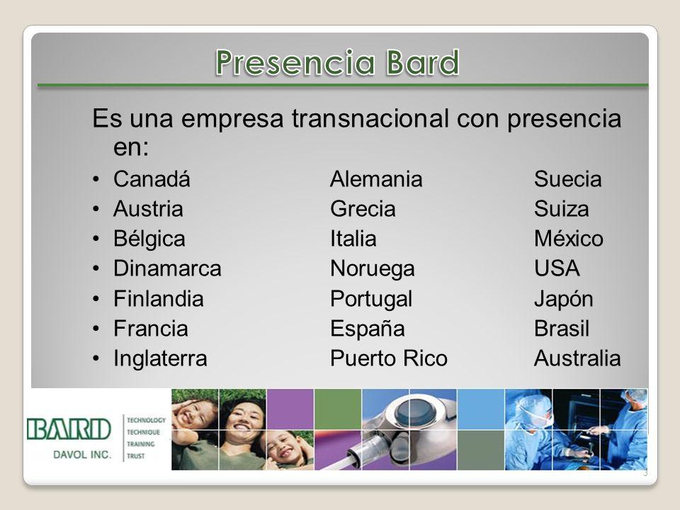 Presencia Bard Es una empresa transnacional con presencia en: