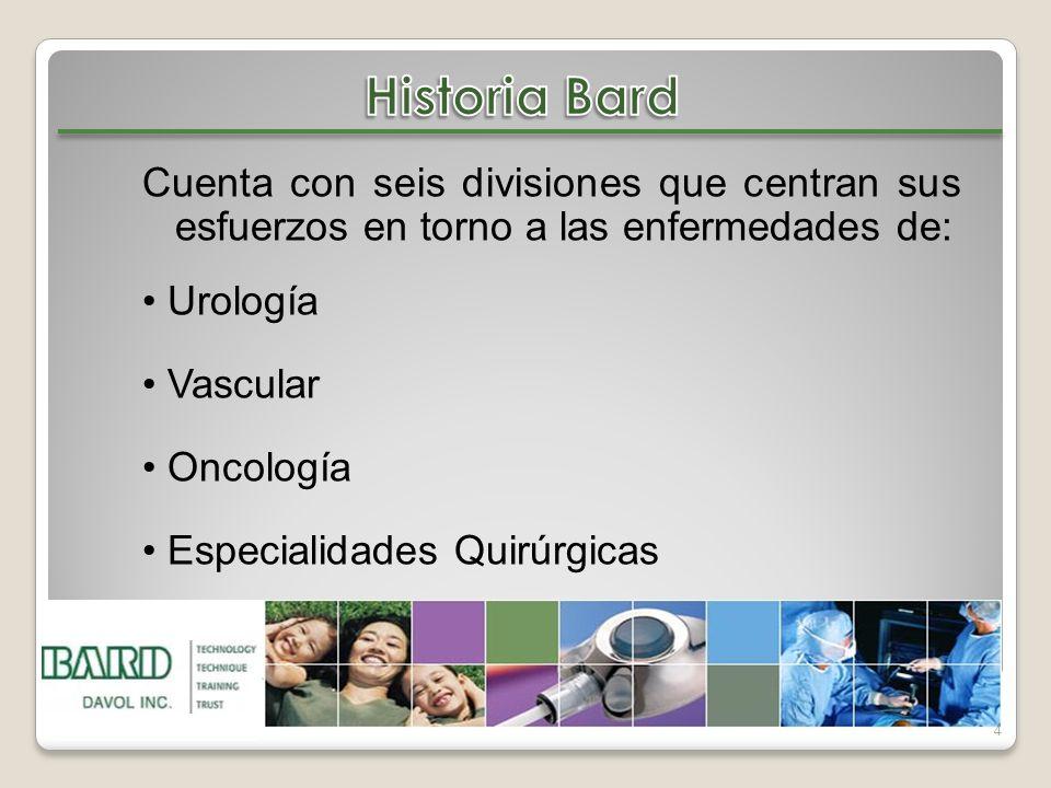 Historia Bard Cuenta con seis divisiones que centran sus esfuerzos en torno a las enfermedades de: • Urología.