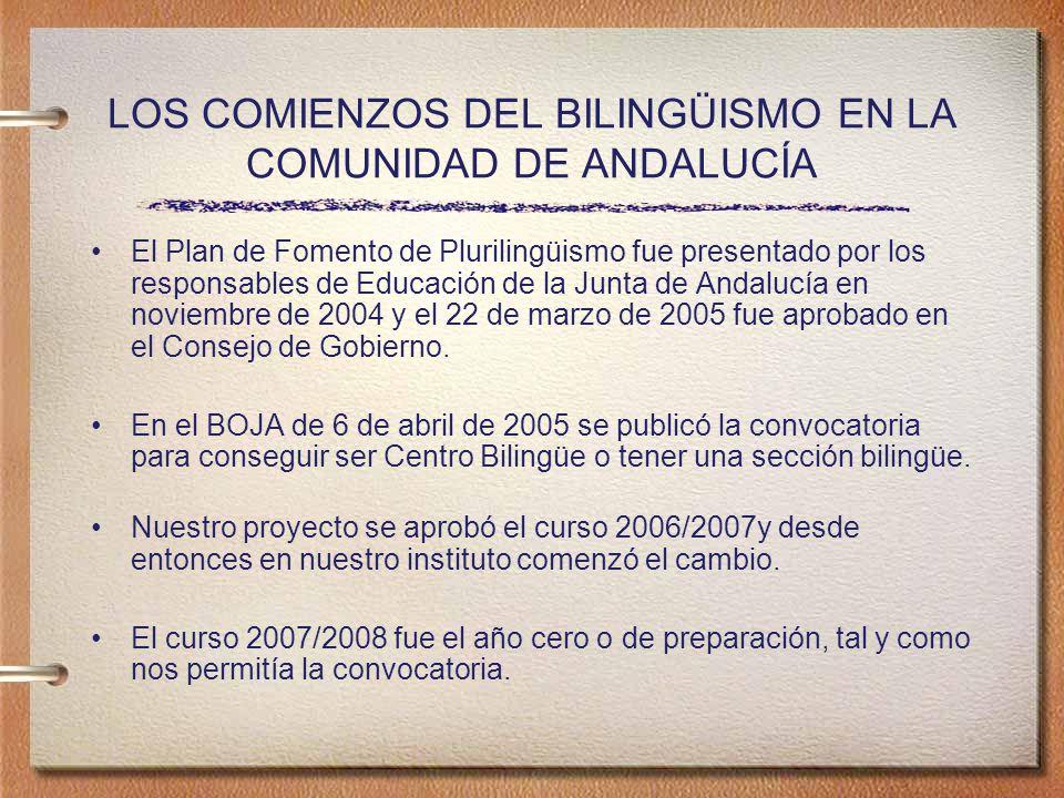 LOS COMIENZOS DEL BILINGÜISMO EN LA COMUNIDAD DE ANDALUCÍA