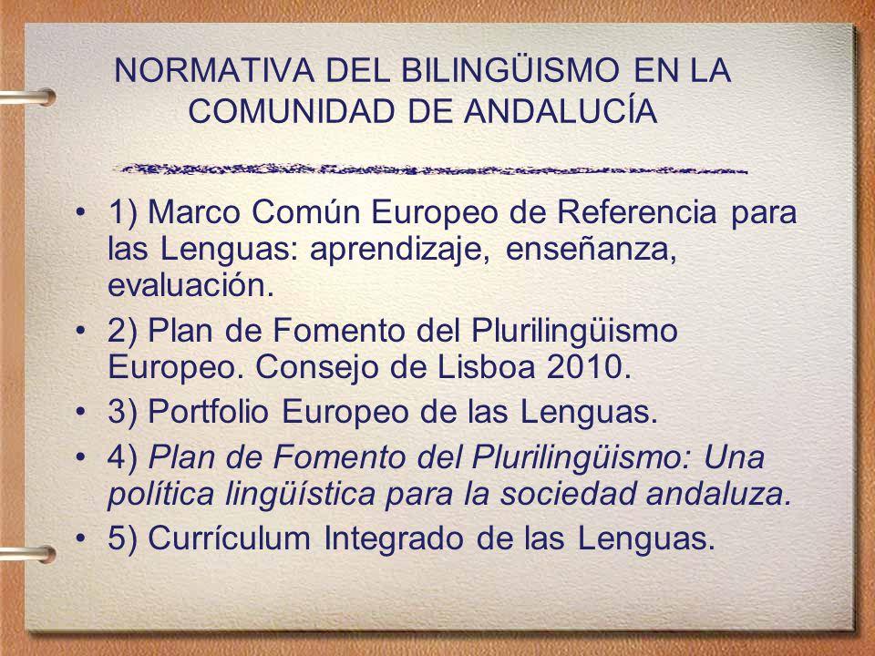 NORMATIVA DEL BILINGÜISMO EN LA COMUNIDAD DE ANDALUCÍA