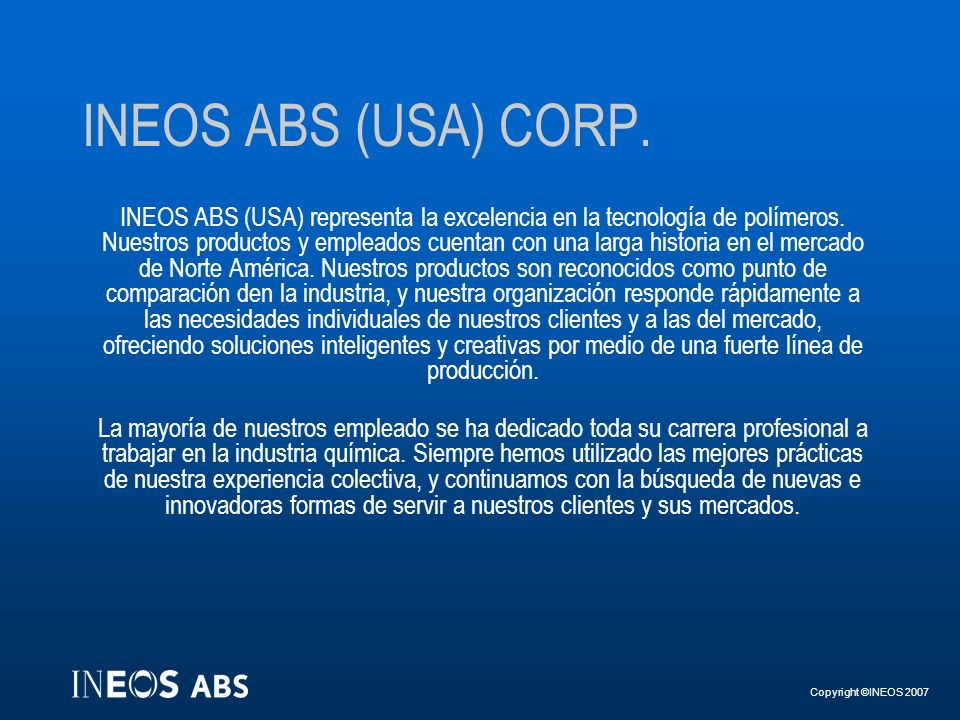 INEOS ABS (USA) CORP.