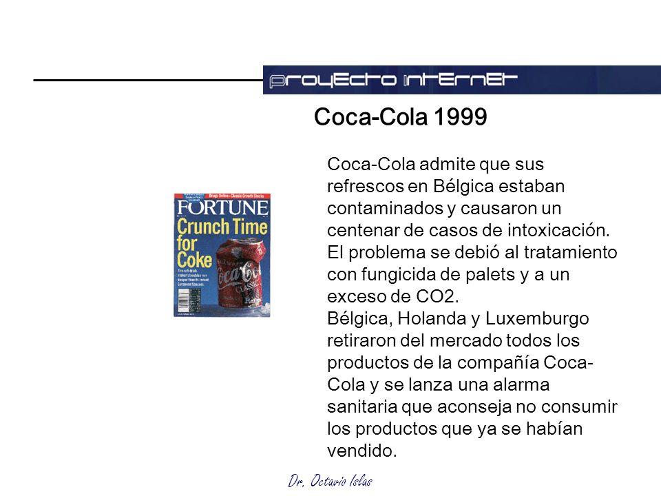 Coca-Cola 1999 Coca-Cola admite que sus refrescos en Bélgica estaban contaminados y causaron un centenar de casos de intoxicación.