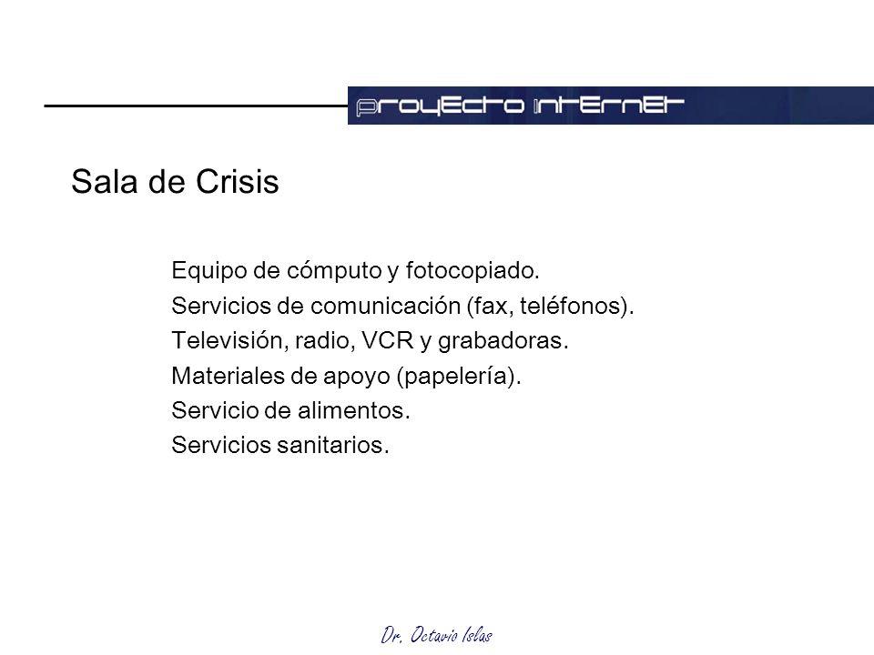 Sala de Crisis Equipo de cómputo y fotocopiado.