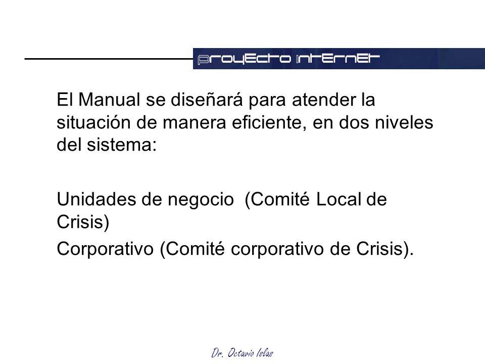 El Manual se diseñará para atender la situación de manera eficiente, en dos niveles del sistema: