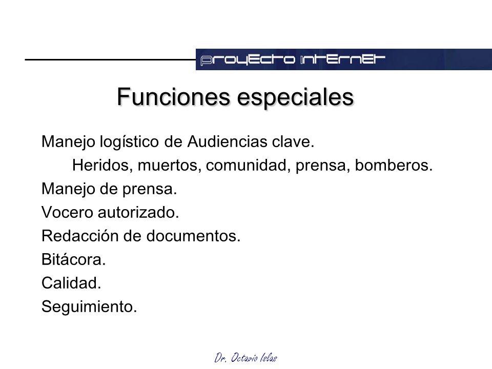 Funciones especiales Manejo logístico de Audiencias clave.