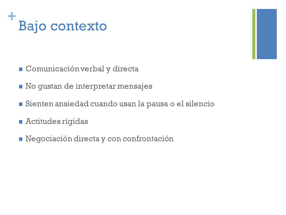 Bajo contexto Comunicación verbal y directa