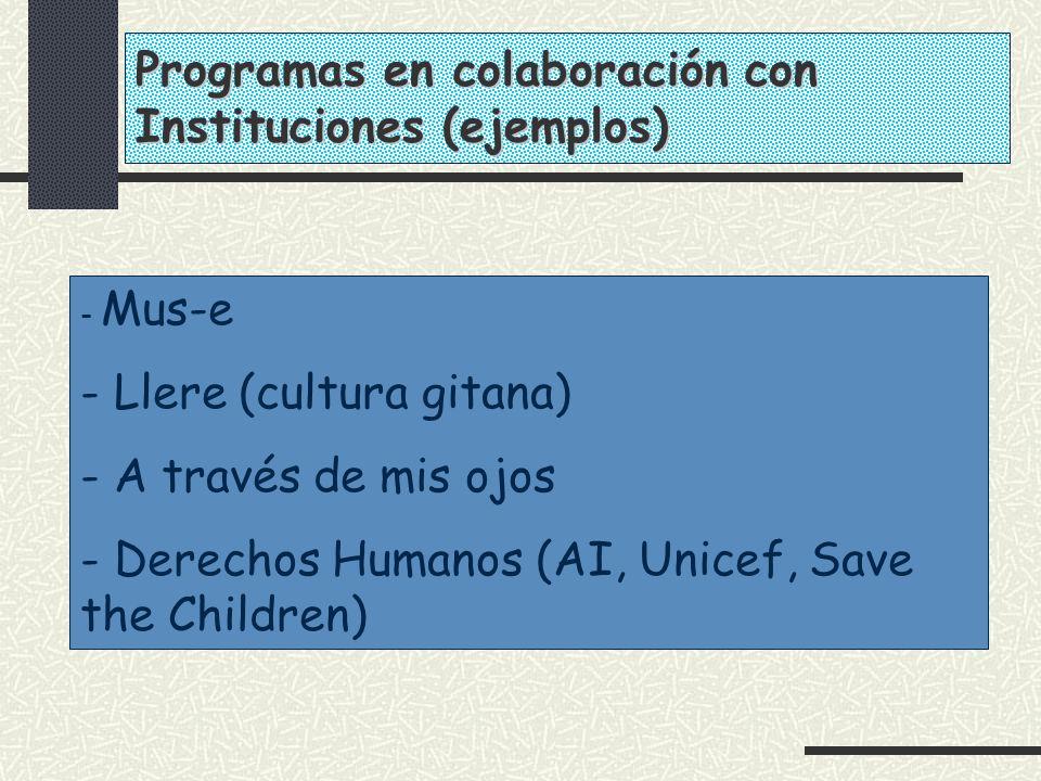 Programas en colaboración con Instituciones (ejemplos)