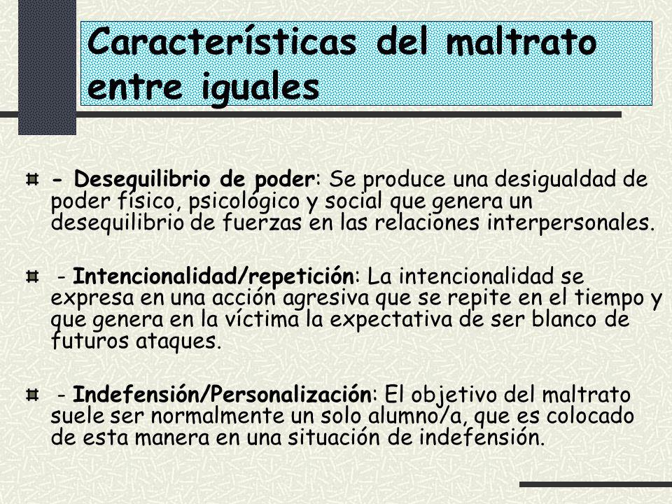 Características del maltrato entre iguales