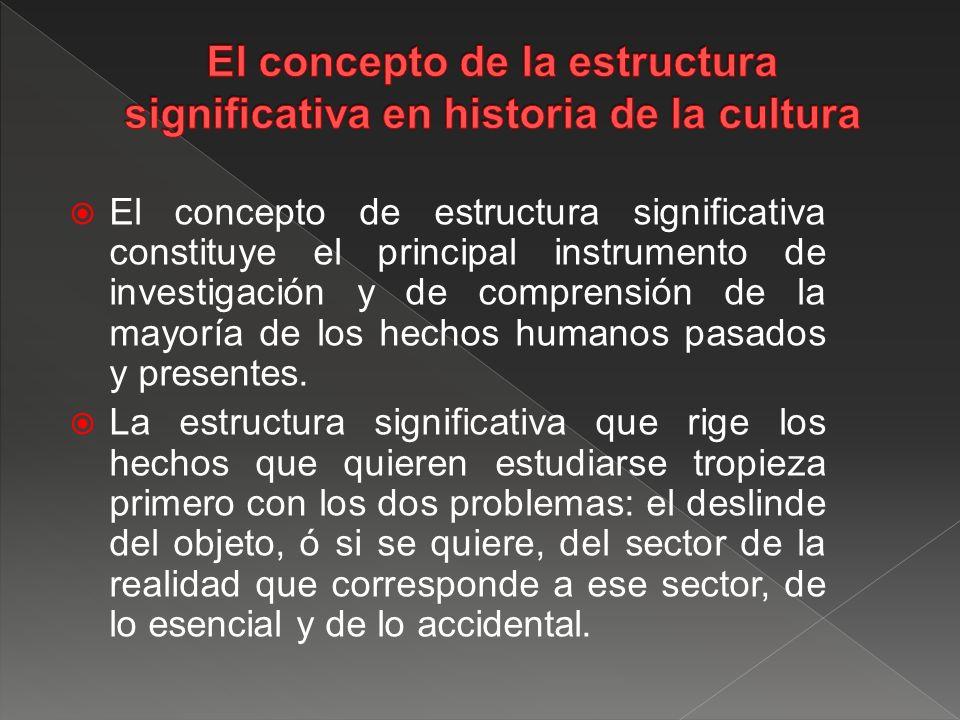 El concepto de la estructura significativa en historia de la cultura