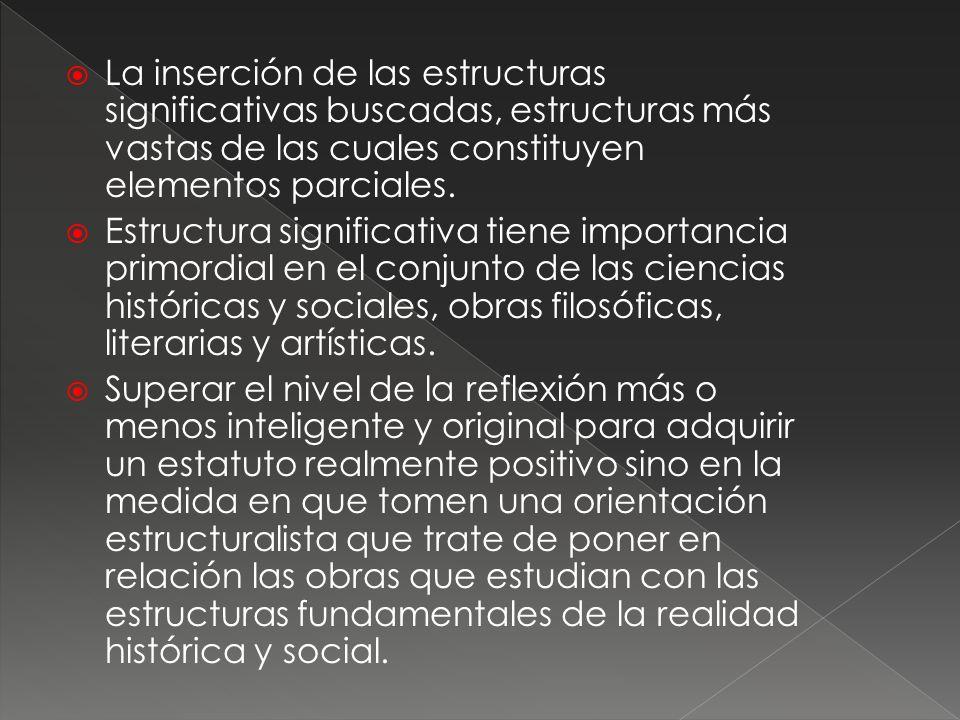 La inserción de las estructuras significativas buscadas, estructuras más vastas de las cuales constituyen elementos parciales.