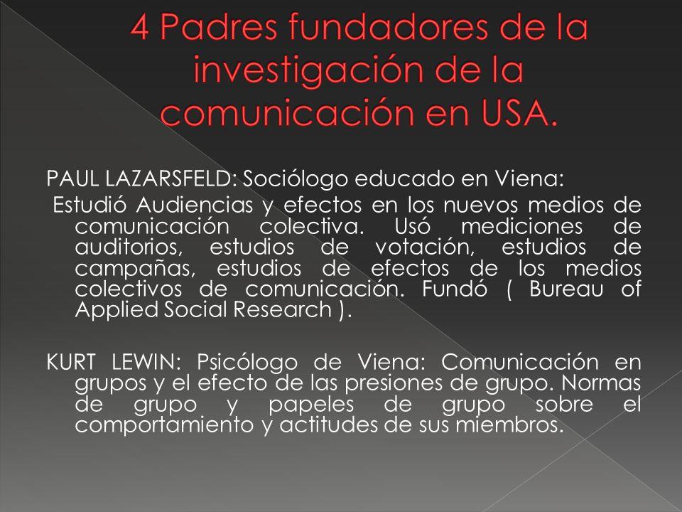4 Padres fundadores de la investigación de la comunicación en USA.