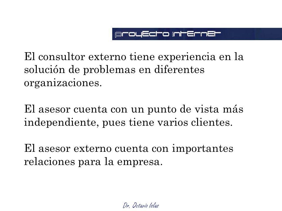 El consultor externo tiene experiencia en la solución de problemas en diferentes organizaciones.