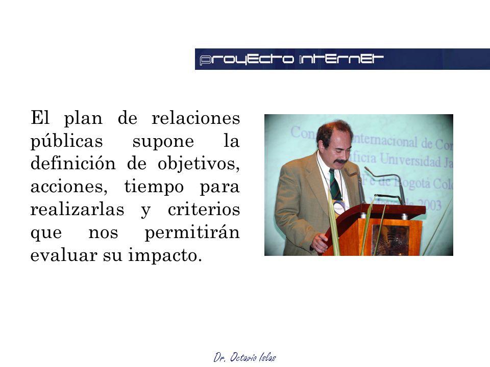El plan de relaciones públicas supone la definición de objetivos, acciones, tiempo para realizarlas y criterios que nos permitirán evaluar su impacto.