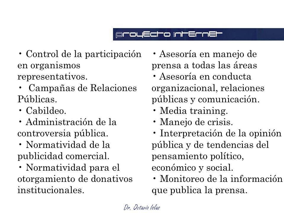 Control de la participación en organismos representativos.