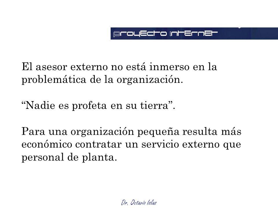 Ventajas El asesor externo no está inmerso en la problemática de la organización. Nadie es profeta en su tierra .