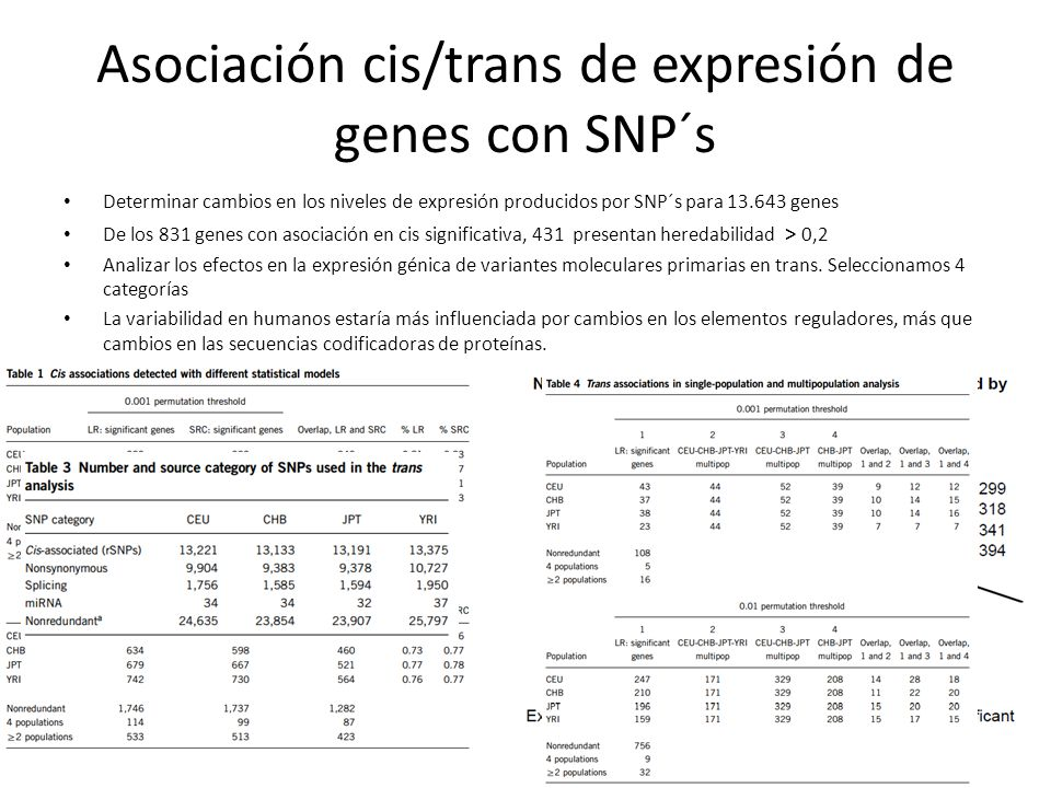 Asociación cis/trans de expresión de genes con SNP´s